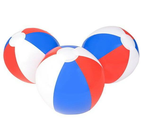 "6  BEACH BALLS 12"" BEACHBALL BALL POOL PARTY RED WHITE BLUE PATRIOTIC FREE SHIP"