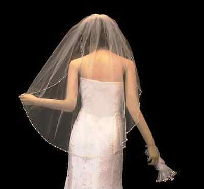 Beaded Fingertip Length Wedding Veil with Pearls and Crystals