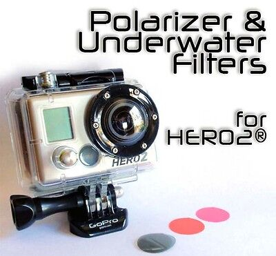 3 Pack - Polarizer Underwater Filters Red / Magenta compatible with GoPro® Hero2