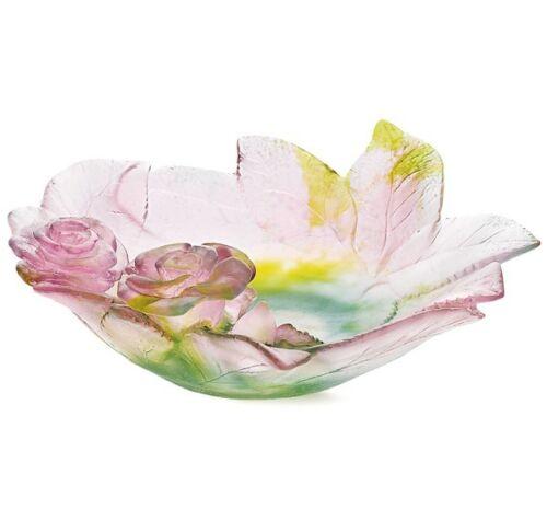 Daum Large Rose Ornamental Dish / Bowl - Factory New