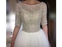 Maggie Sottero Allen Wedding Dress Size 6 Sleeves Swarovski Pearl