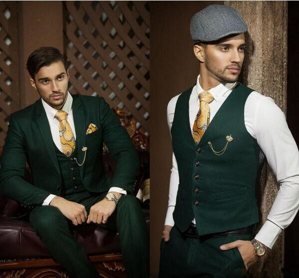Custom Made Dark Green Men Wedding Suits Formal Groom Tuxedos Prom Suits 3 Piece