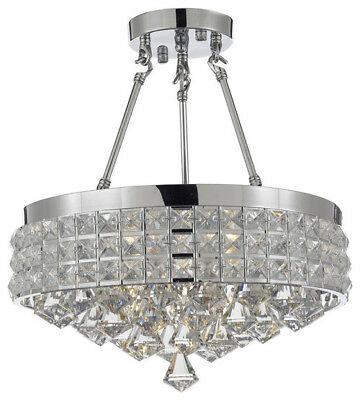 Crystal Semi Flush Chandelier (Semi-Flush Mount French Empire Crystal Chandelier,)
