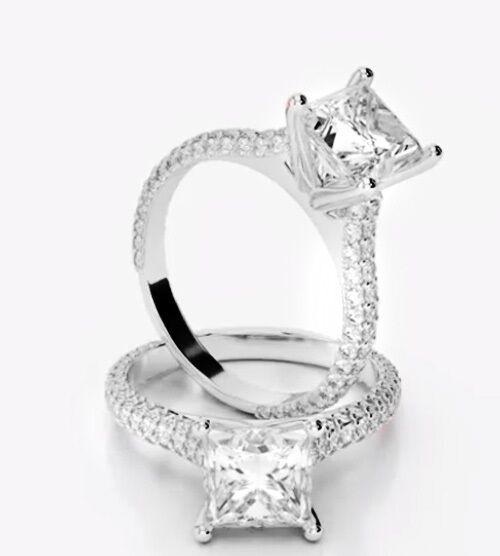 2.10 Ct Princess Cut Diamond Round Micro Pave Engagement Ring G,VS1 GIA 18K WG
