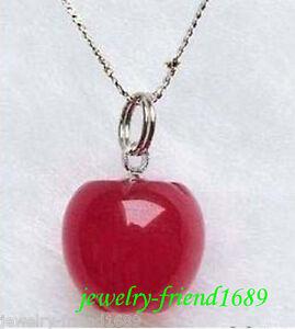 Jewelry-genuine-Red-Jade-Apple-Pendant-Necklace