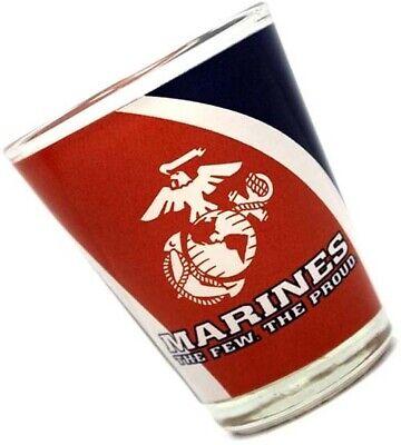 USMC Marine Corps Shot Glass MARINES THE FEW THE PROUD Red White Blue e EGA Marine Corps Glass