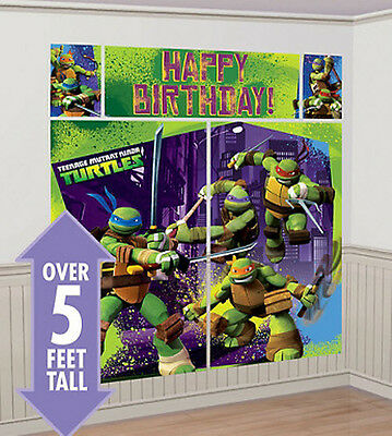 TEENAGE NINJA TURTLES Scene Setter HAPPY BIRTHDAY party wall decoration kit 5' - Ninja Turtles Party Decorations