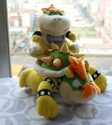 2X Super Mario Bros son Jr and King Koopa Bowser Plush Soft Doll X'mas Toy Gift - Bowser Sons