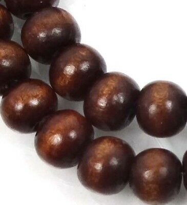 8x7mm Brown Wood Rocaille Round Beads 16