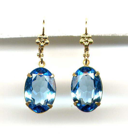 AQUAMARINE Aqua Blue cut-crystal EARRINGS 14K Gold gp Lever backs *Vtg Czech