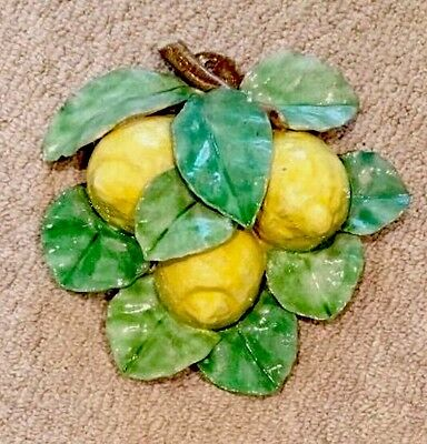 Vintage Cottura Ceramic Lemons Hand Painted Wall Art Pottery Made In Italy