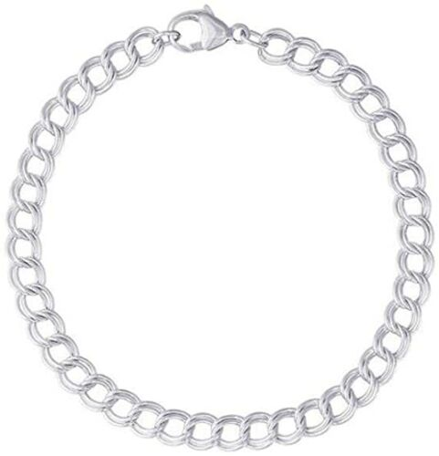 925 Sterling Silver 5MM Double Link Charm Bracelet And Anklet For Women And Men