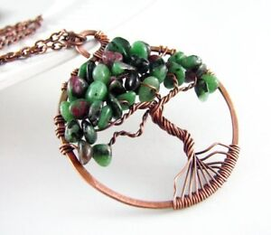Copper and Ruby Zoisite wire wrap tree of life necklace