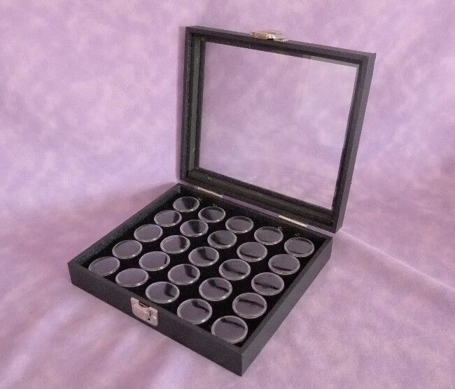GLASS TOP DISPLAY CASE FOR GEM STOREAGE 25 SPACE BLACK FOAM