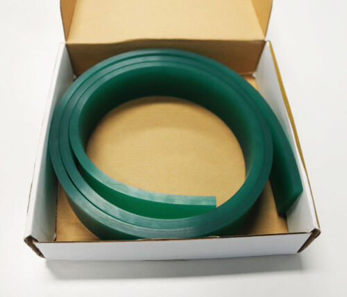 """Screen Printing Squeegee Single 50mm x 9mm x12´(144"""") / Roll 70 Duro Green"""