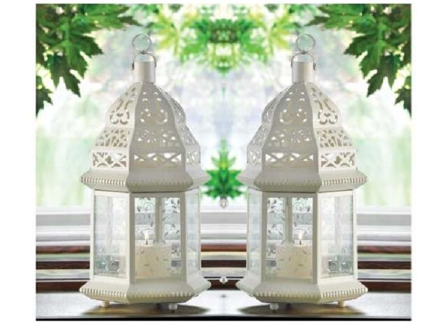 """2 bulk lot White Moroccan shabby 12"""" tall Can"""