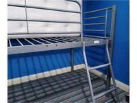 Quality Sturdy Metal Single Sleeper Bunk Cabin Loft Bed Frame Child Kids Teenager Student Landlord
