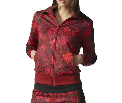 (New Firebird Red Flower Print Track Top Women Black Jacket AY7946)
