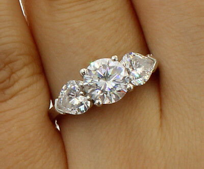 2 Ct 14K White Gold Round Heart 3 Stone Wedding Engagement Propose Promise - Gold 3 Stone Heart Ring