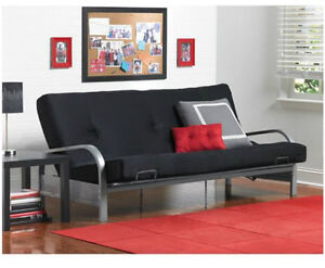 Metal Arm Futon w/ Mattress Mainstays Frame Bed Couch Dorm Furniture Sofa Full