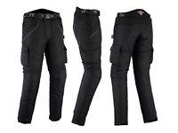 All Black Waterproof Armoured Motorcycle / Motorbike Trousers