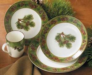 NEW WILD WINGS 16 PC STONEWARE DINNERWARE SET PINECONE WOODLAND RUSTIC