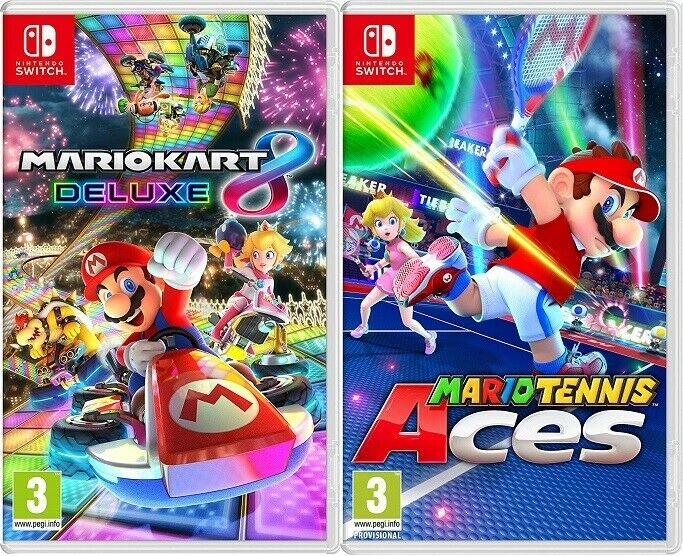 Details About Mario Kart 8 Deluxe Mario Tennis Aces Nintendo Switch Brand New