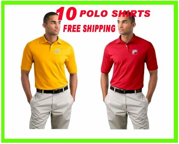 10 Polo Shirts Custom Embroidered - FREE LOGO-Business- Sports- Golf