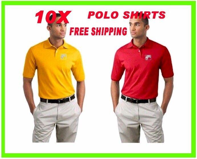 10 Polo Shirts Custom Embroidered - FREE LOGO- - Business- Sports- Golf - Team