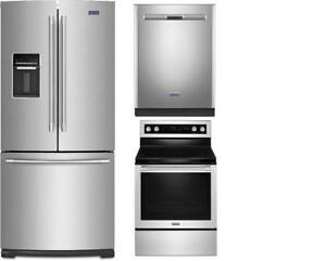 Refrigerator/ Range/ Dishwasher trio, Maytag