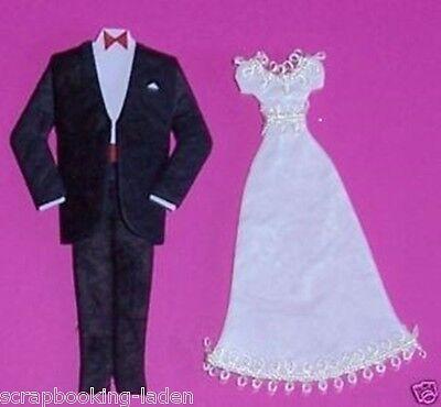 Brautpaar Anzug schwarz Hochzeit Scrapbooking Basteln 3 D
