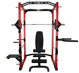 Squat Rack / 310lb Rubber Weight Set & Adj Bench - New In Box