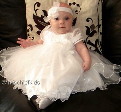 (Sarah Louise RIPPLE Tulle Christening Dress IVORY)