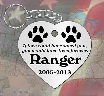 Love Saved, Heart Shape~ PERSONALIZED Pet Memorial Keychain, Dog