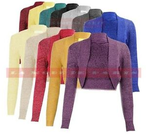 M98-NEW-LADIES-PLAIN-LONG-SLEEVE-KNITTED-LUREX-BOLERO-WOMENS-SHRUG-CARDIGAN-TOP
