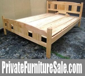Beautiful SOLID WOOD Queen Bed w/wood boards to support a mattre