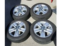 "GENUINE VW VOLKSWAGEN 17"" DAVENPORT ALLOY WHEELS & TYRES T5 T6 HIGHLINE"