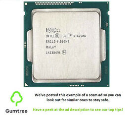 Intel i7 4790k 4.0Ghz CPU LGA 1150 -- Read ad before replying to the ad!!!
