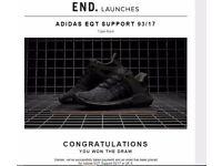 Adidas EQT Support 93/17 Triple Black Size 8