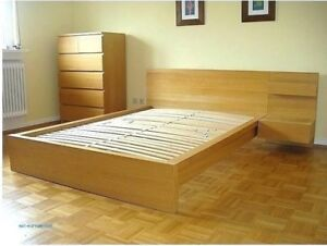 IKEA Malm double bed with slats (also have thin box spring)