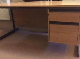 Computer Office Table with Integrated Drawers and Cable Tidy
