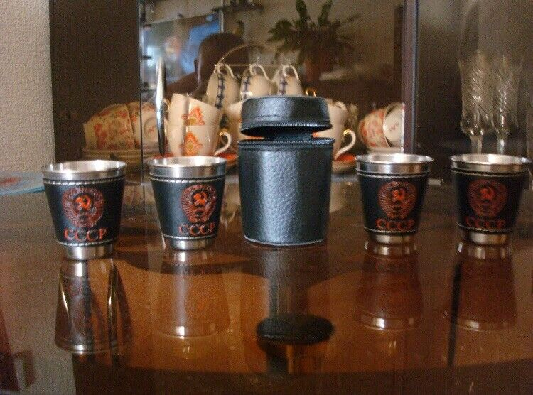 Shot Glass  1 Set 4 Pieces Stainless Travel Set With Leather Cover