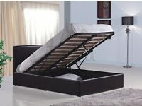 🔥🔥SUPERB QUALITY🔥🔥BRAND NEW DOUBLE OTTOMAN STORAGE GAS LIFT UP BED FRAME BLACK BROWN