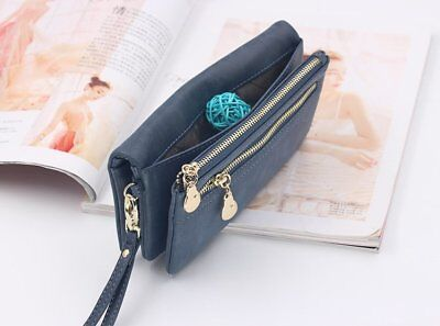 Women Double Zipper Wallets Long Dull Polish Pu Leather Wallet Clutch Coin (Double Zipper Purse)