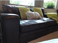 Real leather twin sofa