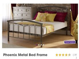 Phoenix metal bed frame including mattress and matching bedside tables
