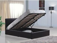 DOUBLE/ KING OTTOMAN STORAGE LEATHER BED BLACK BROWN - LIMITED STOCK OFFER