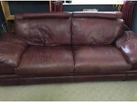 Harvey's 2 & 3 Seater Leather Sofas, Wine Coloured