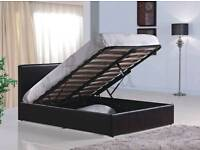 4FT6 DOUBLE BLACK FAUX LEATHER OTTOMAN BED
