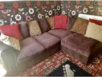 Fabric corner sofa - chocolate - can deliver